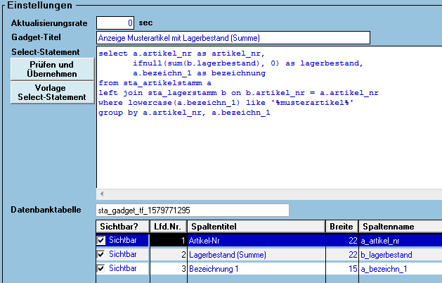 Dashboard Tabellenkonfiguration in cimERP. Screenshot.
